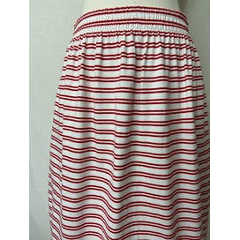 90's Red and White Striped Cotton Knit Midi Skirt by Susan Bristol