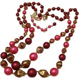 another view of 50's Pink and Gold Double Strand Faux Pearl Necklace