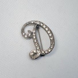 60's Letter D Brooch with Rhinestones