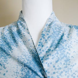 70's Blue Abstract Print Double Breasted Blouse