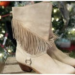 another view of 80's Light Tan Fringe Boots by Connie