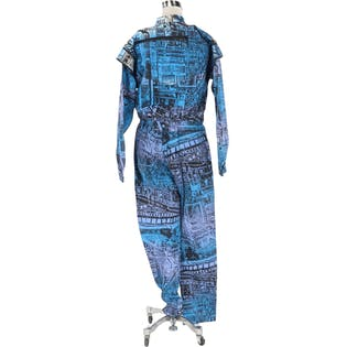 Multi Print Zipper Jumpsuit