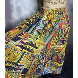 another view of 80's Three Tiered Cotton Abstract Print Peasant Skirt by George Georgiou