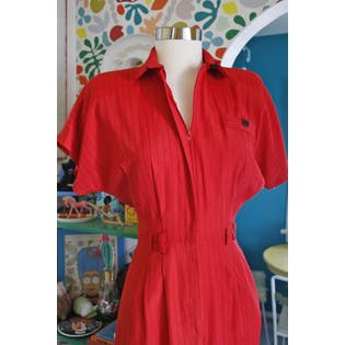 80's Red Striped Dress by All That Jazz