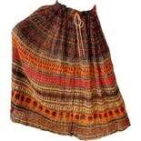 another view of 70's Indian Gauze Block Print Maxi Skirt