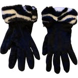Black Velvet Gloves with Zebra Print Cuffs