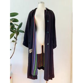 60's Black Rayon Coat with Rainbow Striped Lining and Peter Pan Collar by 365 All-Star