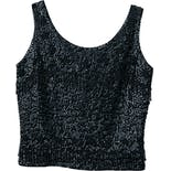 60's Black Sequin Beaded Shimmy Tank