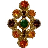 another view of 50's Austrian Multicolored Rhinestone Pin