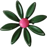 50's/60's Enameled Metal Avocado Green Flower Brooch