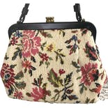 another view of 60's Floral Needlepoint Tapestry Purse