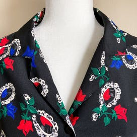 70's Black Red and Blue Rose Mirror Novelty Print Blouse by Personal By Leslie Fay
