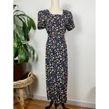another view of 90's Black and Multicolor Floral Belted Dress by Casual Corner