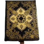 50's Florentine Style Hand Tooled Black and Gold Leather and Metal Compact Carryall Clutch Purse by Kanebo