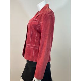 Pink Stitched Suede Jacket by Dalia