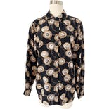 90's Black Silk Pocket Watch Print Button Down Blouse by Ann Taylor Studio
