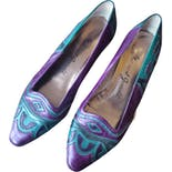 80's Jewel Tone Leather Overlay Flats by Margaret Jerrold