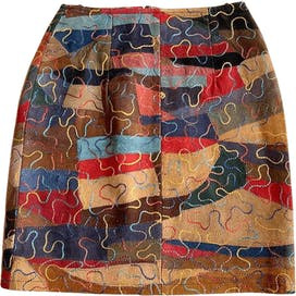 70's Colorful Patchwork Suede Skirt by Katch Me!