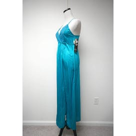 70's Turquoise Blue Nylon Night Gown by Gilead