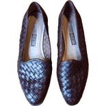 80's Brown Woven Leather Loafers by The Leather Collection