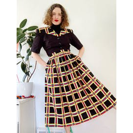 80's Windowpane Print Two Piece Skirt Set by Leslie Lucks