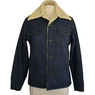 70's Mens Sherpa Lined Denim Jacket by Sears