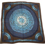 another view of Teal And Brown Mosaic Print Silk Scarf by Louis Vuitton