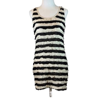 Black and White Striped Ruffle Tank Top by Royal Digs