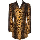 90's Cheetah Print Long Blazer Jacket by Alberto Makali For Caché