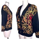 another view of 80's Oversized Cardigan with Baroque Pattern On Black