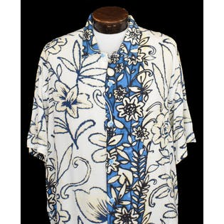 80's Mens Blue and White Floral Rayon Shirt by Jams World