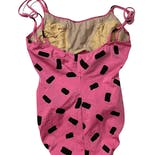 another view of 80's Pink and Black Polka Dot Swimsuit
