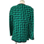 another view of 80's Mint and Black Collarless Gingham Blazer by Leslie Fay Sportswear