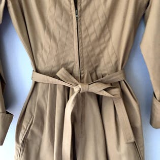 70's Tan Belted Zip Front Dress by Albert Nipon