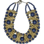 80's Blue and Gold Beaded Bib Necklace