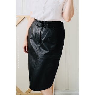 80's Belted Black Leather Pencil Skirt