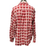 another view of 90's Checkered Holiday Santa Long Sleeve Button Up by Westbound