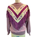 Lavender Leather Fringe Pioneer Wear Southwest Sweater Handpainted