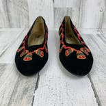 another view of 90's Black Velvet Christmas Holiday Bells Flats by The Pm Collection