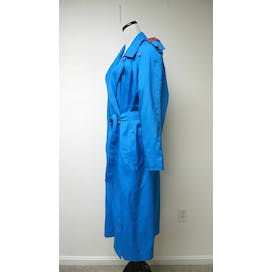 80's Bright Blue Trench Coat by Saxton Hall