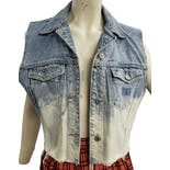 Bleached Cropped Denim Vest by E.n.u.f.