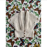 another view of 70's Does 30's White Crochet Shawl Cardigan