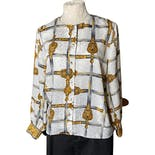 White and Gold Sword Print Button Up Blouse by Laura And Jayne Petite