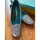 another view of 60's Silver Leather Flats with Rhinestone and Pearl Studs by Orchids