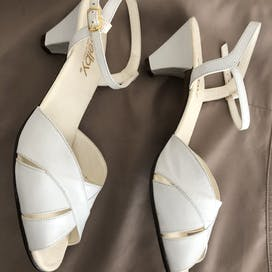 Ivory White Slingback Open Toe Sandals by Selby