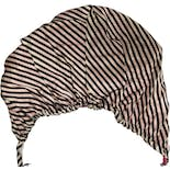 another view of 60's Black, White and Pink Striped Turban Hat