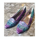 another view of 80's Jewel Tone Leather Overlay Flats by Margaret Jerrold