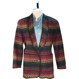 Striped Wool Blend Blanket Jacket Blazer by Hw New York Petites