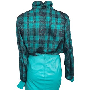 Emerald Green Plaid High Neck Blouse by Castleberry