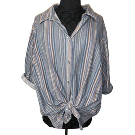 Soft Neutral Colored Striped Button Up Shirt